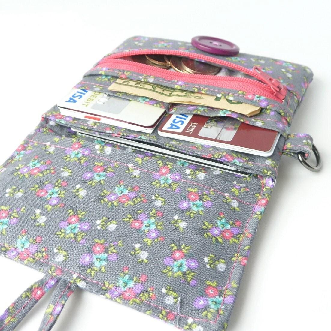 fabric coin purse card organizer. cute grey floral cloth
