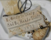 My Needle is Sharp Sewing Pillow - NEW paper pattern from Notforgotten Farm - cross stitch