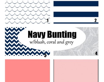 Custom Crib Bedding-3 piece-Navy Bunting with blush, coral and grey