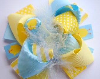 boutique MINI mod YELLOW and light BLUE chick hair bow clip