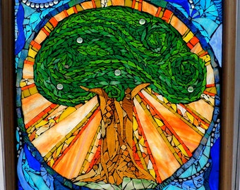 Large Stained Glass Mosaic Tree Window