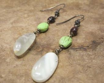 Agate, Gaspite  and Garnet Earrings, Sterling Earrings, Dangle Earrings, Wire Wrapped Earrings