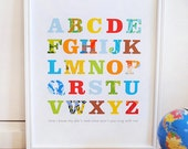 Patterned Alphabet Print Primary Colors modern graphic nursery wall art poster - ready to ship - 8x10