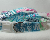 Handcrafted Lilly Pulitzer 2014 Osterville Multi Patch Print Fabric Dog Collar & Leash Set