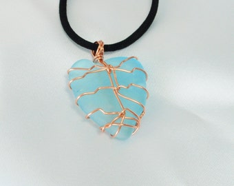 Sea Beach Jewelry, pendant , wire wrapped by hand with copper wire. Necklace of your choice is available