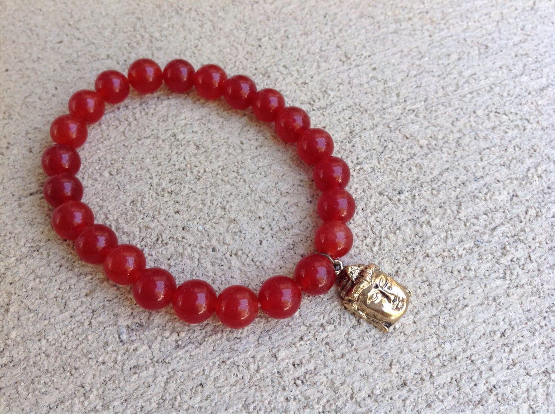 Red jade stone buddha bracelet by laineybean on etsy