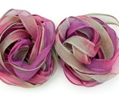 SowZerE SRA End of Day  - Two Pure silk hand made and  dyed chiffon ribbons  for jewelry and craft -