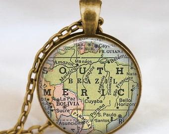 Brazil map  necklace,  Brazil South America map pendant ,  Brazil glass dome pendant,map jewelry