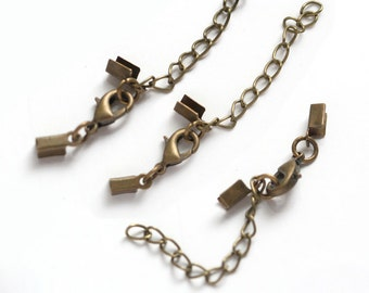 10 bronze finish cord end clasps with lobster clasps and extension chain - for 2-3mm cord (0359B)