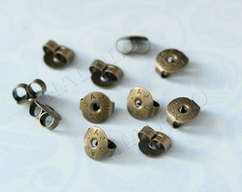 100 pcs antique bronze earring backs stoppers 5mm BN356E