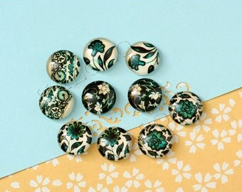 10pcs handmade assorted green flower round clear glass dome cabochons 12mm (12-0836)