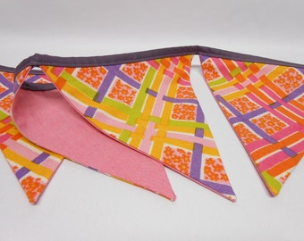Bunting Fabric Banner Vintage Fabric Pink Purple Orange Double Sided Home Decor OOAK