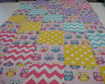 Sorbet Owls Patchwork Minky Blanket  You Choose Size and Minky Color MADE TO ORDER No Batting