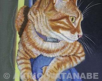 Akiko ORIGINAL 9x12 Orange Tabby Ginger Cat painting