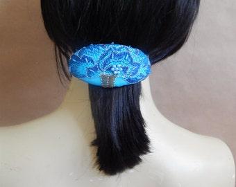 Beaded barrette, hair barrette, fabric barrette, oval barrette, hair accessory, fashion accessory