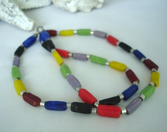 Rainbow Necklace - Multicoloured - Tile Beads - Metal Spacers - Colourful - Long Necklace - Square Beads - Fashion Jewelry