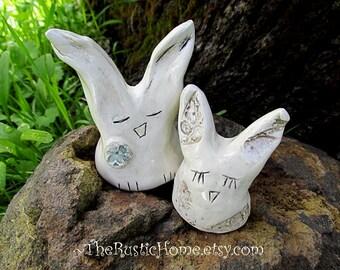 Ready to ship rustic bunny rabbits custom wedding cake topper bunnies rabbit woodland wedding woodland themed outdoors nature bride groom