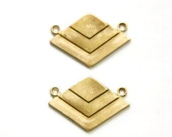 2 Loop Raw Brass Deco Layered V Connector Pendants  (2) mtl407A