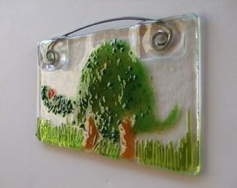 Tortoise Suncatcher Tile Fused Glass