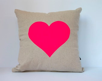 Heart in Neon Pink on Oatmeal - Hand Printed Cushion Cover - Linen Cotton - 40cm x 40cm