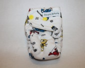 Final Clearance: preemie / doll fitted cloth diaper made using organic bamboo / cotton with Ninja print