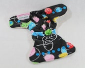 Final Clearance: Preemie / doll fitted cloth diaper / nappy made using organic bamboo / cotton, black with funky tree print