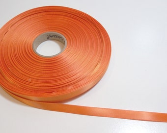 Orange Ribbon, Single-Faced Orange Satin Ribbon 3/8 inch wide x 70 yards, 50% Off Sale