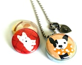 Dog Adoption Locket - Magnetic Necklace, Interchangeable Lids, Terrier, Lab, Recycled Steel, Stamped, SPCA DONATION, Polarity & Lizzyclara