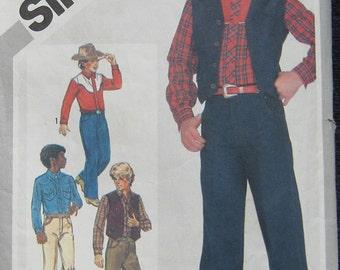 Simplicity Boys Western Shirt Jeans Vest Pattern 5528