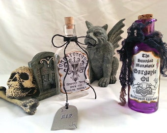 HAUNTED house Mansion POTION poison BOTTLES gargoyle oil  tombstone tonic