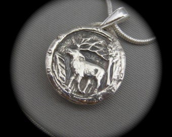 Elk Pendant - Necklace - Men's Jewelry - Recycled Silver - Eco Friendly