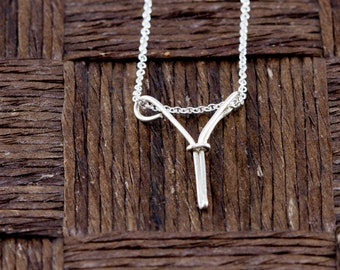 Sterling Silver Wire Wrapped Initial Pendant and Necklace - Letter Y
