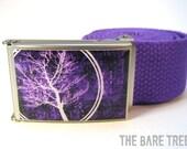 Purple Bare Tree Apparel Circle Bare Tree on Matte finish Buckle with Purple web Belt