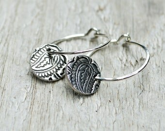 Petite Silver Hoops with Leaf Charms -  PMC, Fine Silver, Printed Paisley, Argentium Sterling