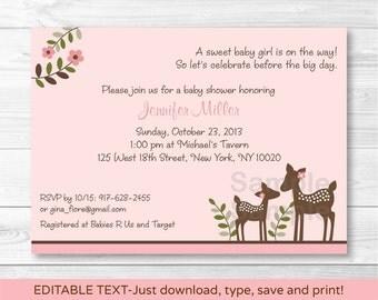 Pink Deer Baby Shower Invitation / Deer Baby Shower / Woodland Baby Shower / INSTANT DOWNLOAD Editable PDF A379