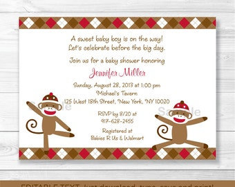 Cute Sock Monkey Baby Shower Invitation / Sock Monkey Baby Shower Invite / Argyle Pattern / Baby Boy / INSTANT DOWNLOAD Editable PDF