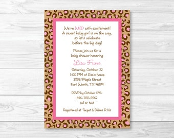 Cheetah Print Baby Shower Invitation / Pink Cheetah / PRINTABLE