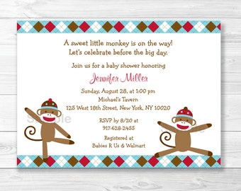 Cute Sock Monkey Baby Shower Invitation / Sock Monkey Baby Shower Invite / Argyle Pattern / Monkey Baby Shower / PRINTABLE