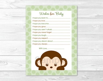 Monkey Wishes for Baby Advice Cards INSTANT DOWNLOAD
