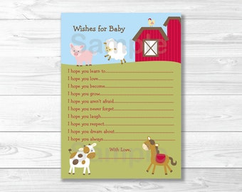 Farm Animal Wishes for Baby Advice Cards INSTANT DOWNLOAD