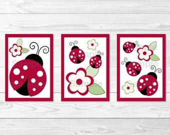 Cute Ladybug Nursery Wall Art / Ladybug Nursery Wall Art / Ladybug Garden / Red & Black / Baby Girl / PRINTABLE Instant Download