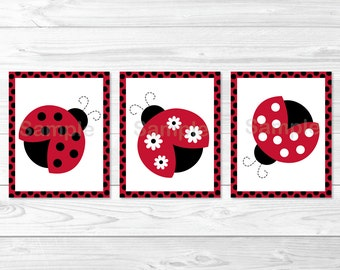 Cute Ladybug Nursery Wall Art / Ladybug Nursery Wall Art / Ladybug Nursery Decor / Red & Black / Baby Girl PRINTABLE Instant Download A254
