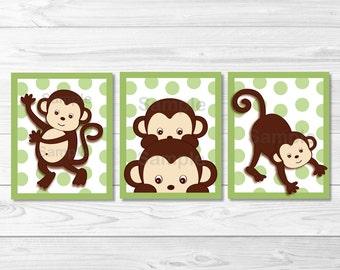 Cute Monkey Nursery Wall Art / Monkey Nursery Wall Art / Baby Boy Nursery / Green & Brown / PRINTABLE Instant Download A403