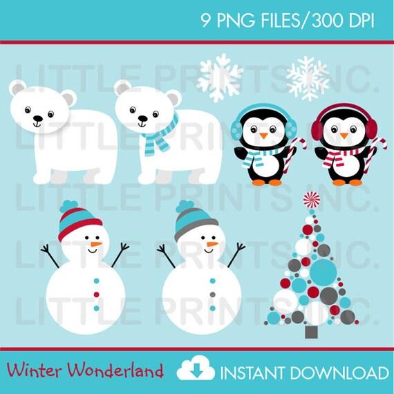 winter wonderland clip art instant download. Black Bedroom Furniture Sets. Home Design Ideas