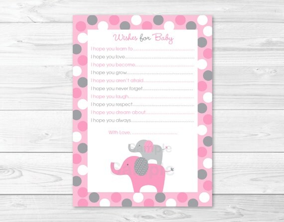 Pink Gray Polka Dot Elephant Printable Baby Shower Wishes for Baby Advice Cards