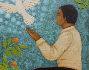 Letting Go - Man with Dove Portrait Folk Art Print of Painting by Tamara Adams
