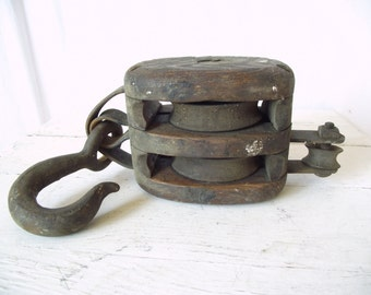 Antique Block and Tackle Double Pulley - Great Story