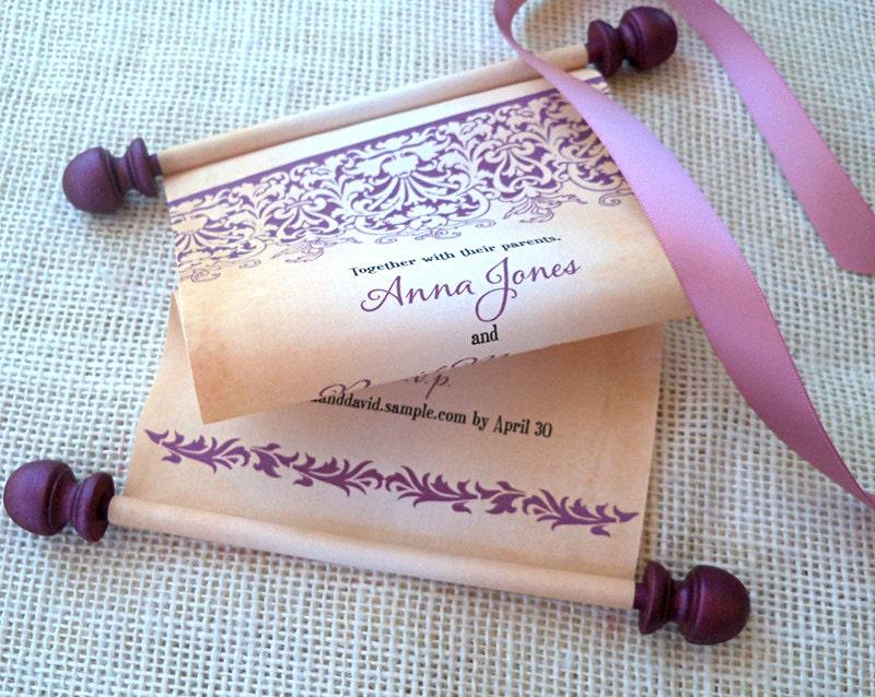Fabric Wedding Invitations: Fairy Tale Wedding Invitations Fabric Scroll With Damask