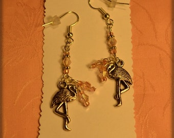 Flamingo Charm,Light Pink AB Crystal Earrings
