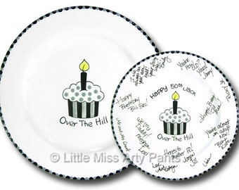 Ready to Ship - Hand Painted Signature Birthday Plate - Over The Hill Cupcake